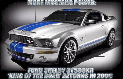 2008 Shelby GT500KR Mustang - Silver with Blue stripes - Item #DC08KR01