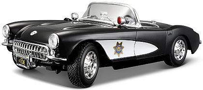 C1 1957 Corvette Convertible Police • Black-White • #MAI31380