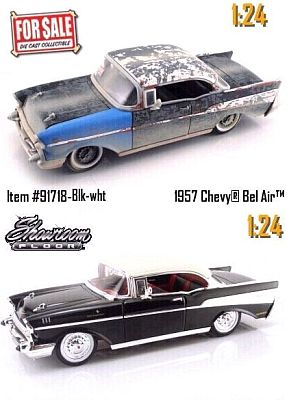 1957 Chevrolet Belair UNrestored and  Showroom version, 2-car set, Item #JT91718