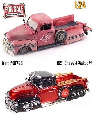 1951 Chevy Pickup Unrestored and Restored versions 2-pack, item #JT91795rb