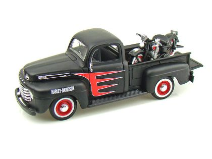 1948 Ford F1 Harley Davidson Truck 1/24 & 1948 Harley-Davidson Knucklehead Motorcycle • #MA32161BK