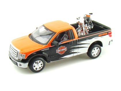 2010 Ford F150 Harley Davidson Truck 1/24 & 1958 FLH Duo Glide Harley-Davidson Motorcycle • #MA32173OBW