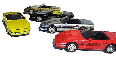 1986 Corvette Convertible INDY 500 Pace Car, Item #18801silver, 18802red, 18804black, 18805gold