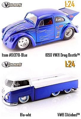 1959 VW Drag Beetle inclusive VW Transporter with sliding bed, Item #JT91378blu