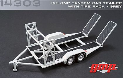 Tandem Car Trailer in grey with ramps & tire rack • #GMP14303
