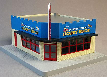 DOWNTOWN Hobby Shop Corner Store • Ready-Built Diorama with lights • #MTH30-90451