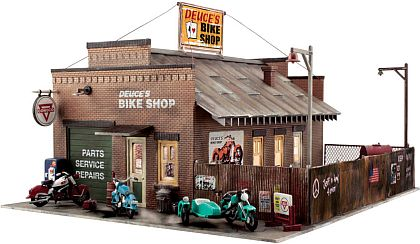 Deuce's Bike Shop • Ready-Built Diorama with ligts • #WS-BR5846