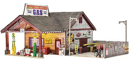 Ethyl's Gas & Service Station • Ready-Built Diorama with ligts • #WS-BR5849