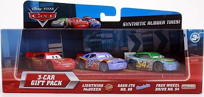 CARS • LIGHTNING McQUEEN #95 • GASK-ITS #80 • FAUX WHEEL DRIVE #54 • 3-Car Gift Pack • #V7562 • Disney/PIXAR