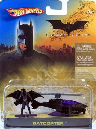 BATCOPTER with BATMAN Figurine • HotWheels Batman Begins card • #HW-H6297
