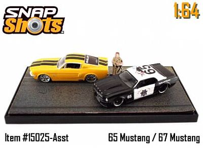 Mustang BUSTED diorama with 1965 Police Mustang and 1967 Shelby Mustang item #JT15025