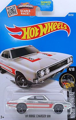 1969 Dodge Charger 500 ZAMAC • HW NIGHT BURNERZ • #HW-DHX91