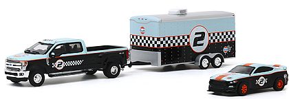 2019 Ford F-350 Dually, 2019 Ford Shelby GT350R, Eclosed Trailer • GULF Oil Racing set • #GL31090B