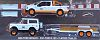 2015 Ford F-150 and 1996 Ford Bronco and Flatbed Trailer • GULF Oil Racing set • #GL51061A