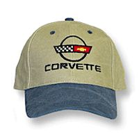 C4 Corvette Blue & Khaki Low Profile Brushed Twill Hat • #044c4