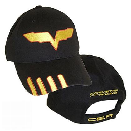 Corvette Racing Embroidered Black Cotton Twill Cap • #841c6r