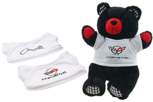 Cuddly Corvette teddy bear 12'' tall with 3 interchangable t-shirt  C2, C4 and C5