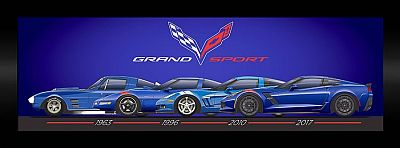 Corvette Grand Sport Generations • Framed Gallery Wall Art • #GS63961017