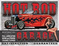 Tin Sign HOT ROD GARAGE • Boring and Stroking Satisfaction Guaranteed • DE#HR1626TS