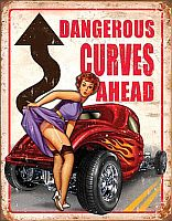 Tin Sign Dangerous Curves Ahead • DE#HR1670TS