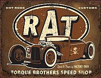 Tin Sign RAT • Hot Rods Customs Torque Brothers Speed Shop • DE#HR1783TS