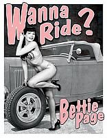 Tin Sign Bettie Page • Wanna Ride ? • DE#HR1791TS