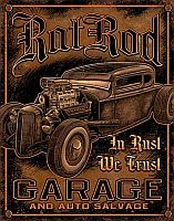 Tin Sign RAT RODS • In Rust We Trust • DE#HR1895TS