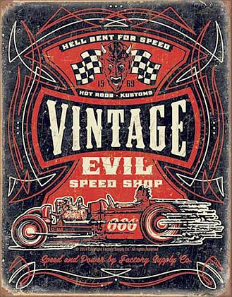 Tin Sign Hot Rod • Evil Speed Shop • DE#HR1972TS