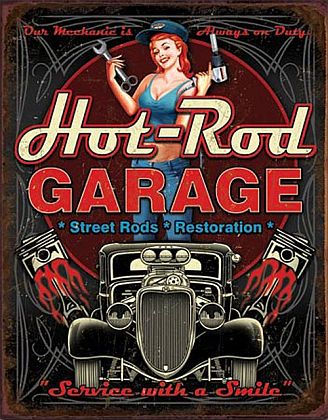 Tin Sign Hot-Rod GARAGE • * Street Rods * Restoration * • DE#HR1895TS