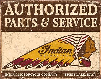 Authorized Indian Parts and Service • TIN SIGN • #IN1930TS