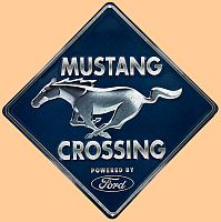 Mustang Crossing Embossed Tin Sign • #M995589TS