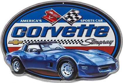 Corvette Stingray Coupe Die Cut Tin Sign • Embossed Tin Sign • #VE1117571TS