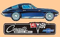 Corvette Sting Ray Coupe Die Cut Tin Sign • Embossed Tin Sign • #VE1117605TS