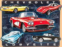 Corvette Collage Tin Sign • Embossed (3-D) Tin Sign • #VE1282821TS