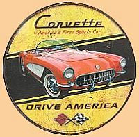 Corvette America's First Sports Car Drive America • Embossed Tin Sign • #VE245779TS