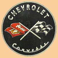 CHEVROLET Corvette with Crossed Flags • Embossed Tin Sign • #VE831032TS