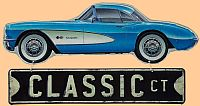 Corvette Classic Ct Hanging Die Cut Tin Sign • Embossed Tin Sign • #VE913962TS