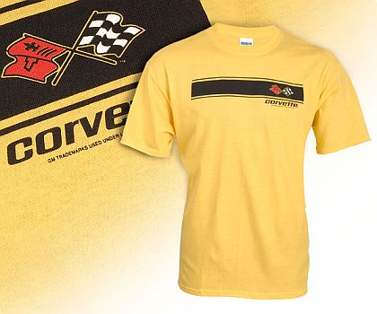 C3 Corvette Yellow with Black Stripes Tee Shirt